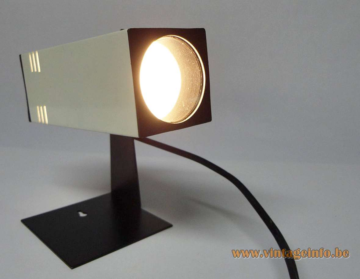 1970s Square Tube Table Lamp perforated aluminium beam iron base Brilliant Leuchten Fase Madrid MCM