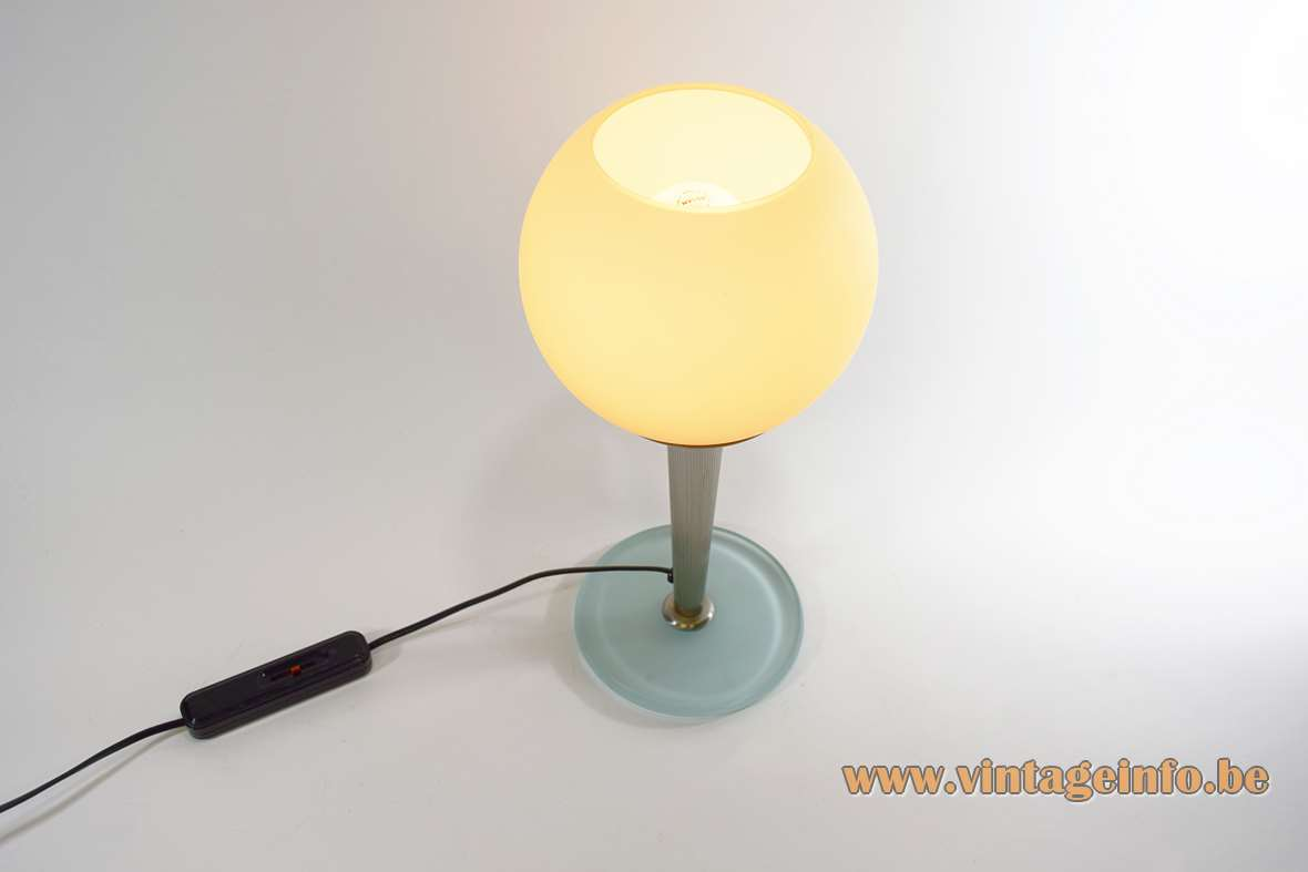 Antonangeli Olimpia table lamp round blue glass base ribbed rod globe lampshade design: Gianfranco Marabese 1980s
