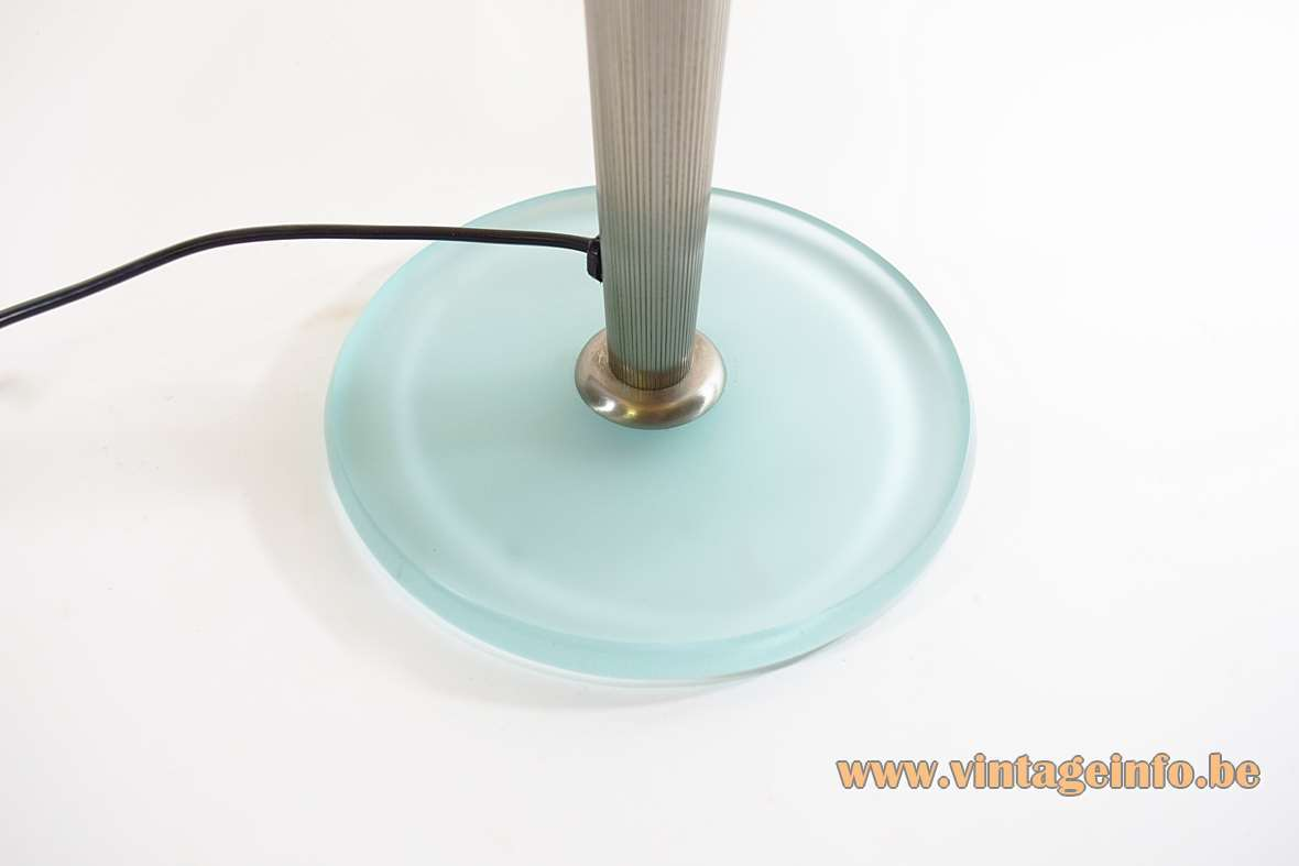 Antonangeli Olimpia table lamp round clear light blue glass base ribbed rod design: Gianfranco Marabese 1980s