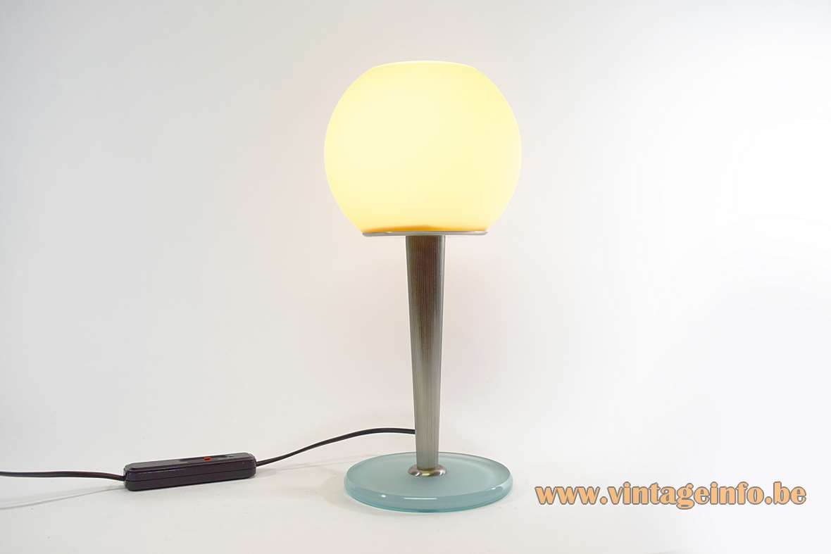 Antonangeli table lamp Olimpia design: Gianfranco Marabese glass base ribbed rod globe 1980s 1990s