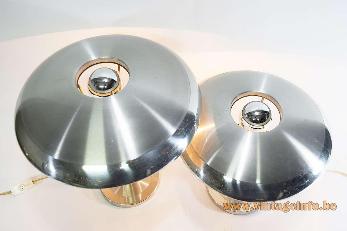Aluminium Mushroom Desk Lamps polished brushed anodized aluminium produced by S.A. Boulanger Belgium 1960s 1970s MCM