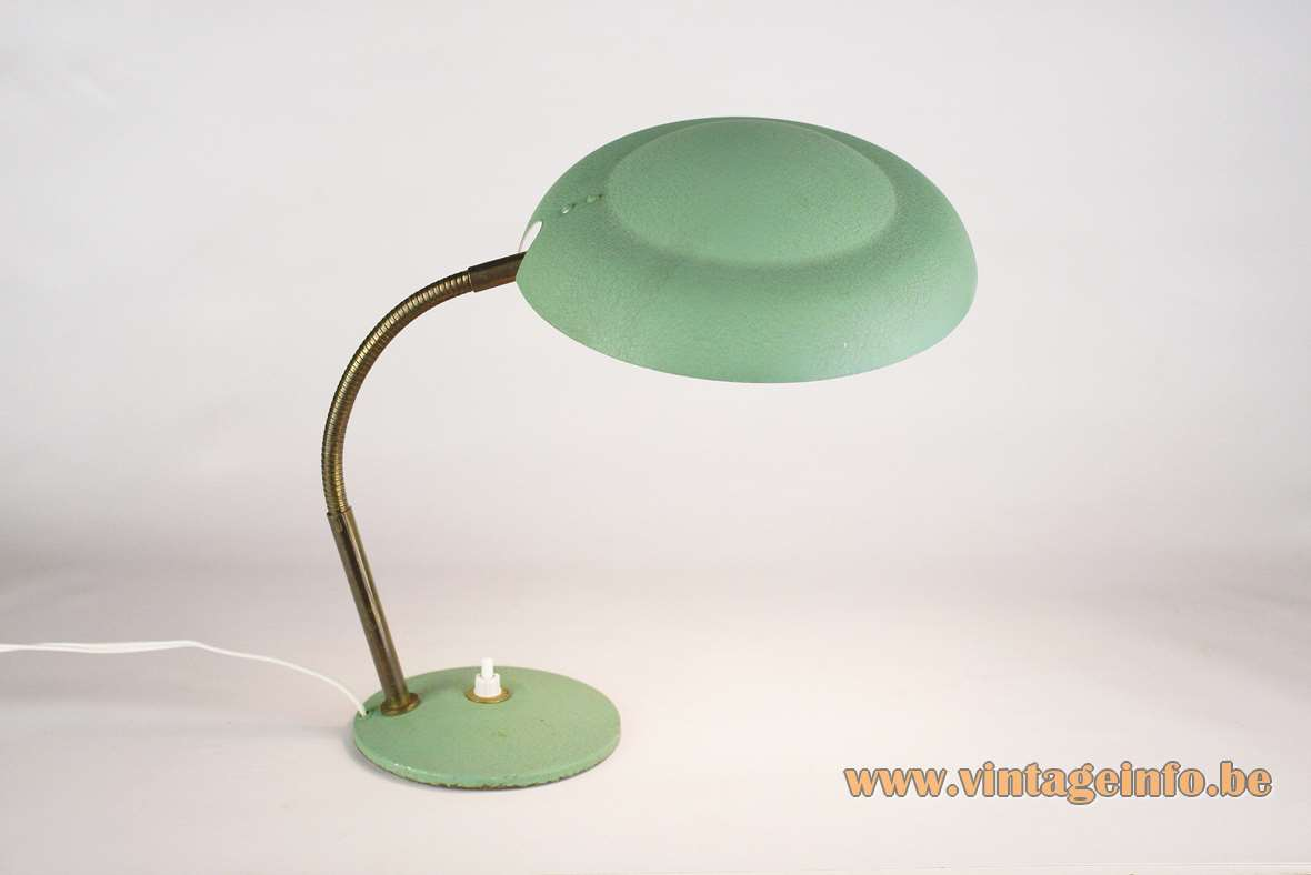 Aluminor brass gooseneck UFO desk lamp mint green wrinkle paint round base 1950s 1960s Nice France MCM