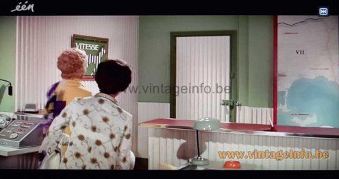 Aluminor UFO desk lamp used as a prop in the comedy film Le Gendarme En Balade (1970)