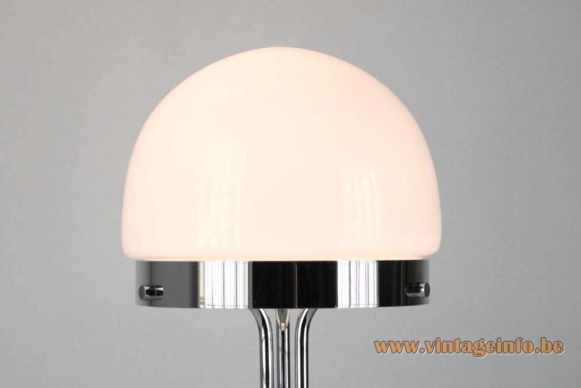 André Ricard Metalarte Table Lamp desk chrome design: 1969 opal glass dome 1970s Spain MCM