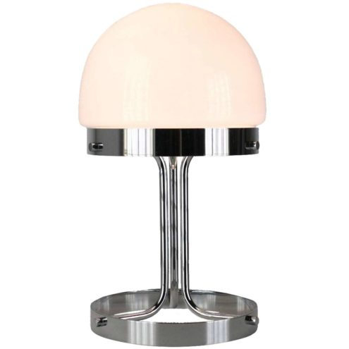André Ricard Metalarte table lamp 1969 design chrome base opal glass half round lampshade 1970s Spain
