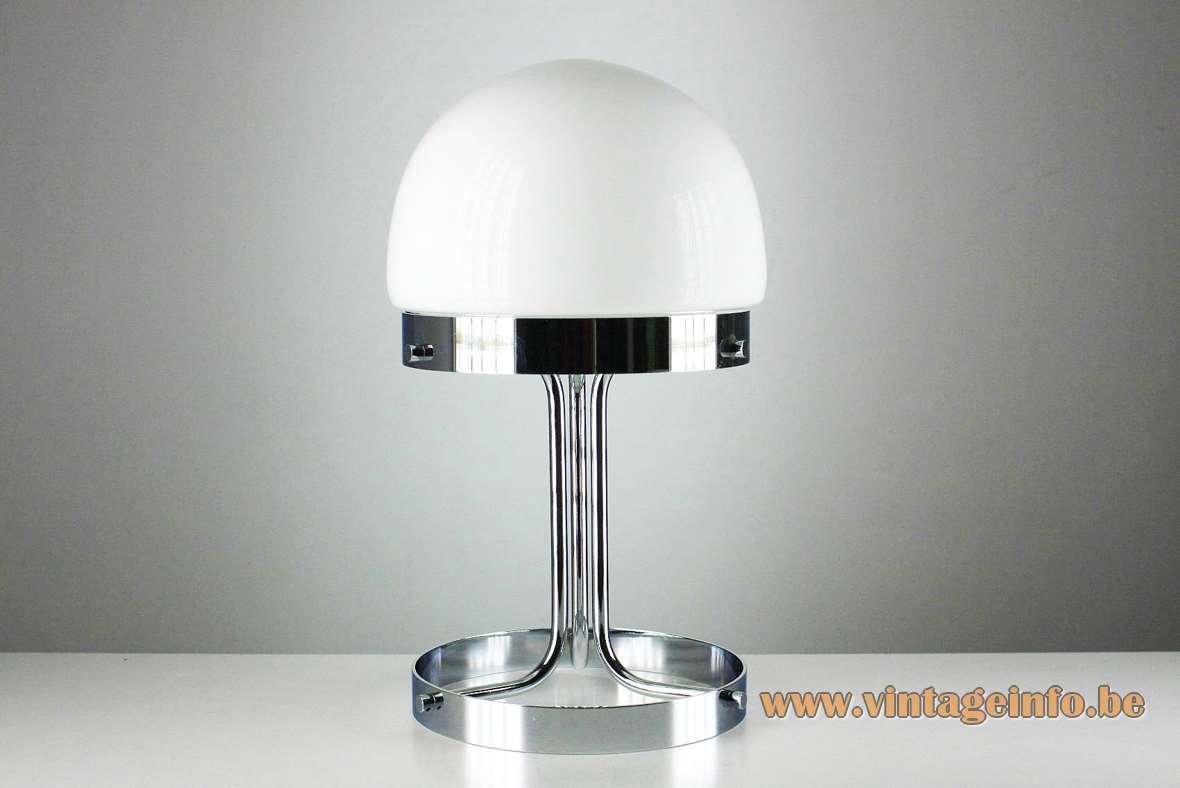 André Ricard Metalarte Table Lamp desk chrome design: 1969 opal glass dome 1970s Spain MCM