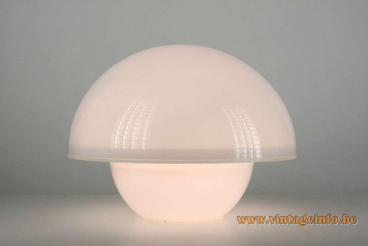André Ricard Seta Table Lamp design 1974 Metalarte 1970s 1980s white acrylic two half globes MCM
