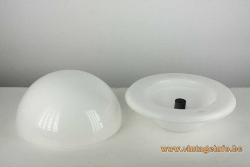 André Ricard Seta Table Lamp design 1974 Metalarte 1970s 1980s white acrylic two half globes MCM