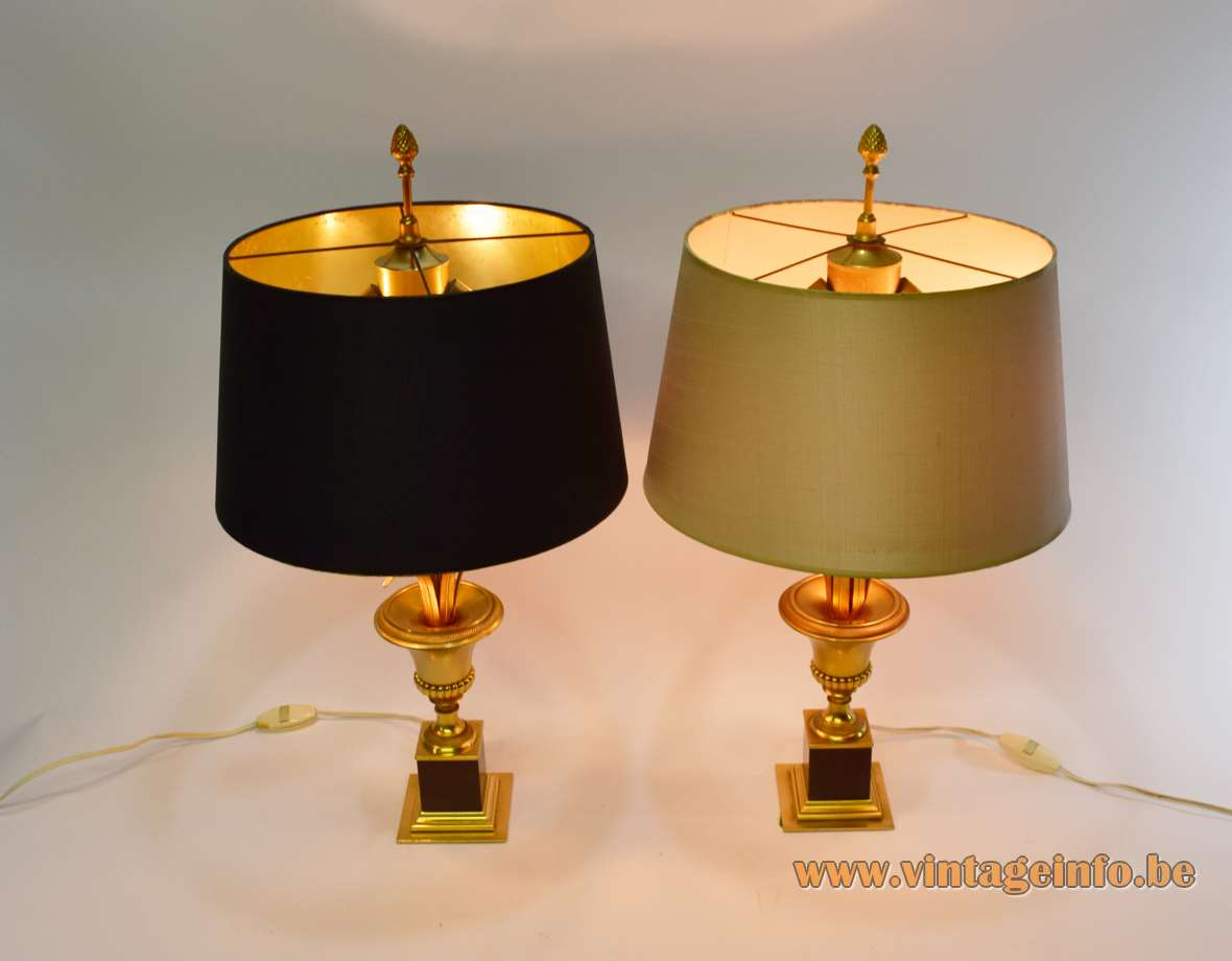Boulanger Brass Reed Table Lamps square base urn palm leaves fabric lampshades Hollywood Regency 1970s