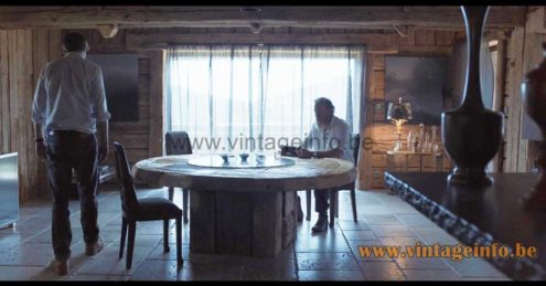 Boulanger Brass Reed table lamps used as a prop in the 2016 TV series Zone Blanche
