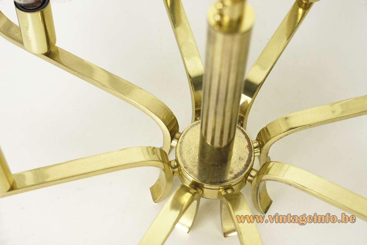 Carl Fagerlund Acanthus Orrefors chandelier 8 bubble glass leaves folded brass rods 1960s 1970s Sweden