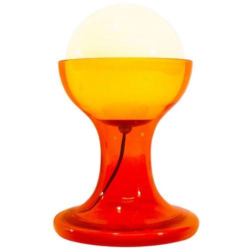 Carlo Nason AV Mazzega LT216 table lamp 1968 design orange glass base opal globe 1960s 1970s