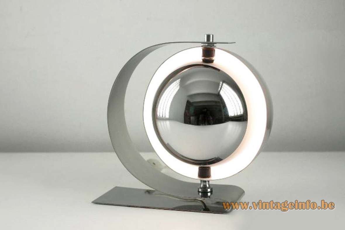 Carlos M. Serra chrome stainless steel eclipse table lamp produced by Carpyen Barcelona 1960s 1970s MCM