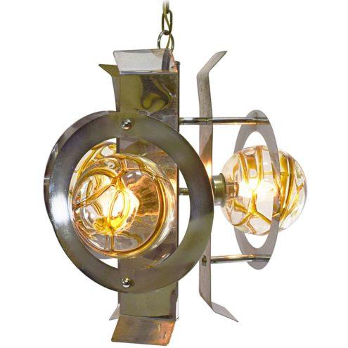 Chrome And Amber Veined Glass Chandelier 3 globes AV Mazzega Doria slats SILA sas 1960s 1970s MCM