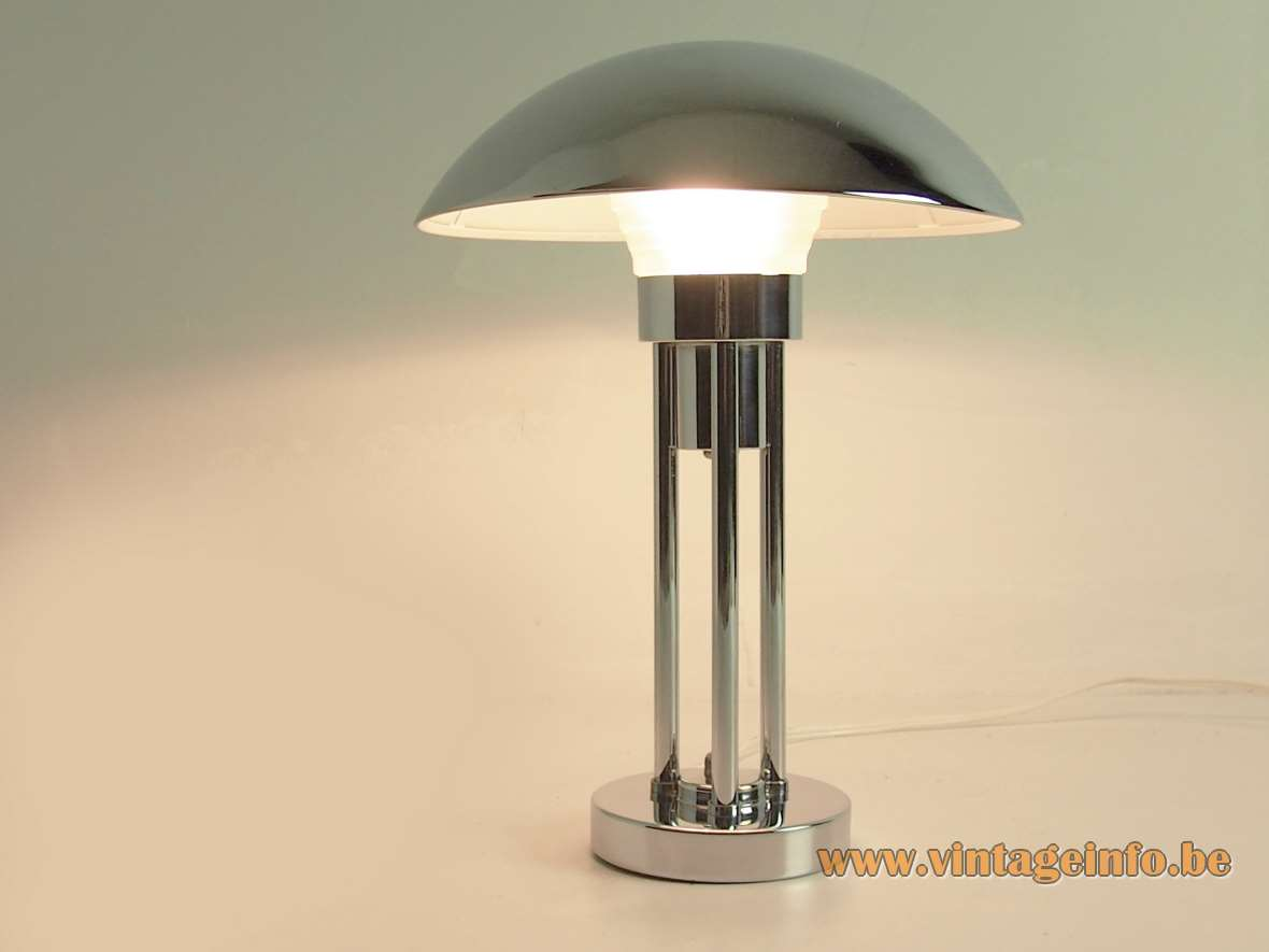 Claude-Paz Et Silva Table Lamp Chrome mushroom round base pressed glass diffusser 1930s 1940s 1950s
