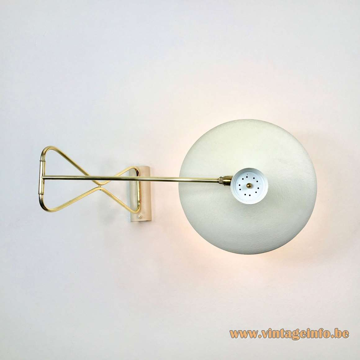 Cosack swing-arm diabolo wall lamp adjustable brass rods wrinkle paint lampshade 1950s 1960s vintage MCM