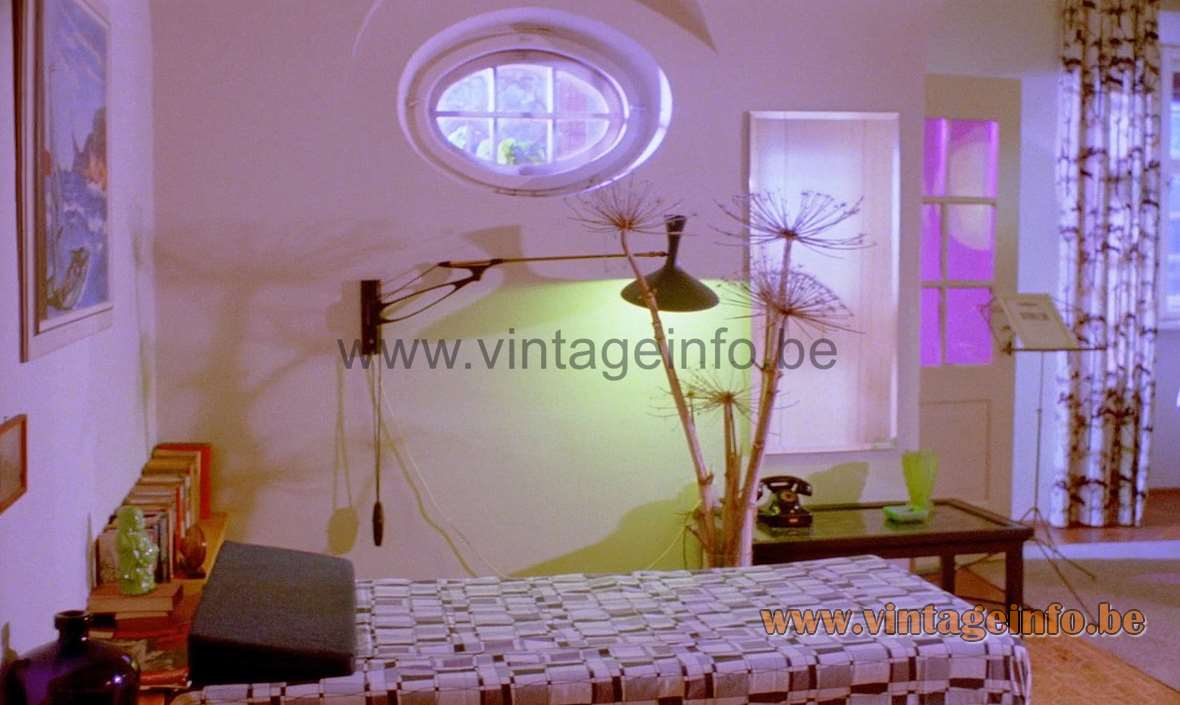 Cosack swing-arm diabolo wall lamp used as a prop in the film Lola from 1981