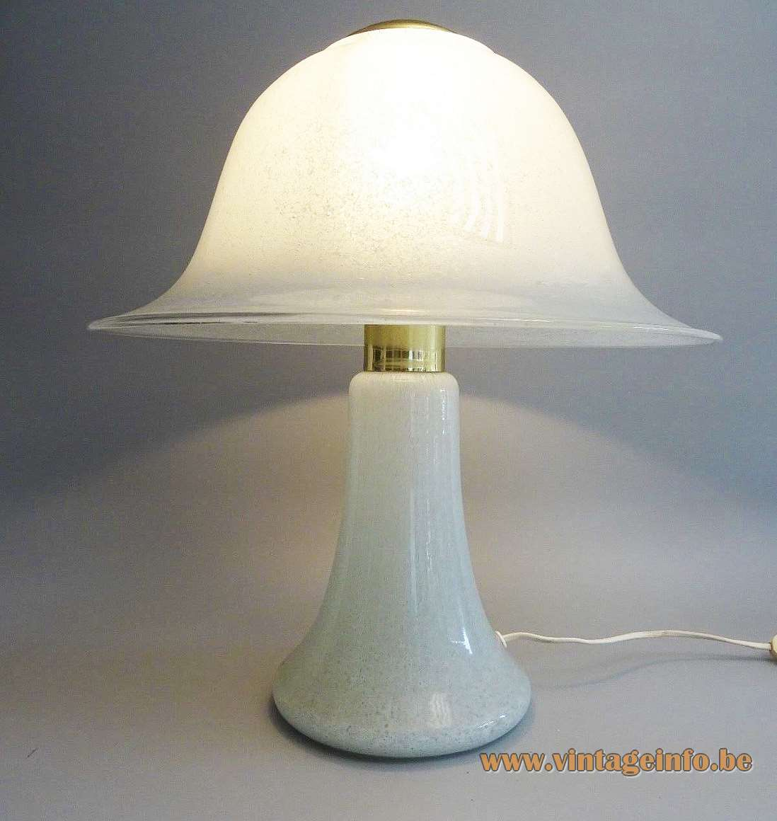 Doria Glass Mushroom Table Lamp white opal spotted glass brass top and parts 1970s 1980s MCM