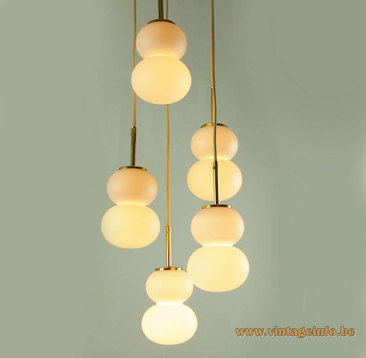 DORIA pumpkin cascade pendant chandelier 5 frosted glass calabash style globes brass rods 1960s 1970s Germany