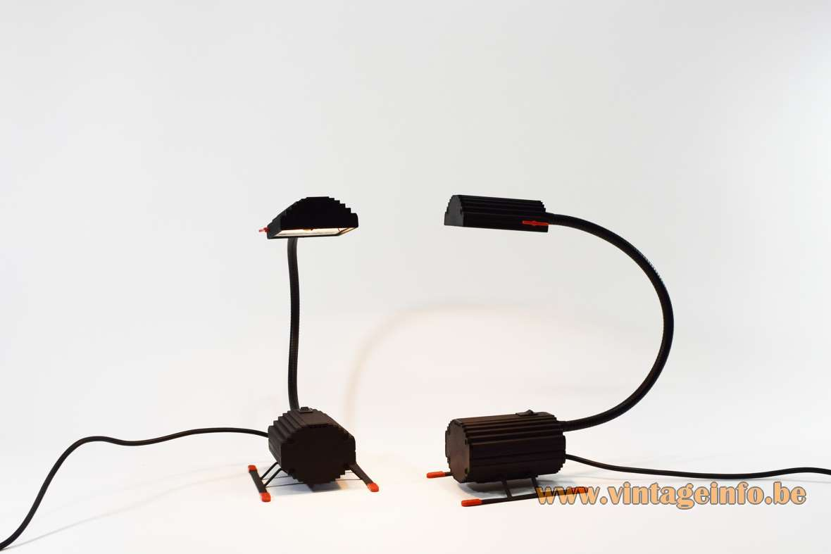 Ezio Didone Arteluce Ciao Table Lamp 1170 gooseneck design 1983 2 sliders black wrinkle paint