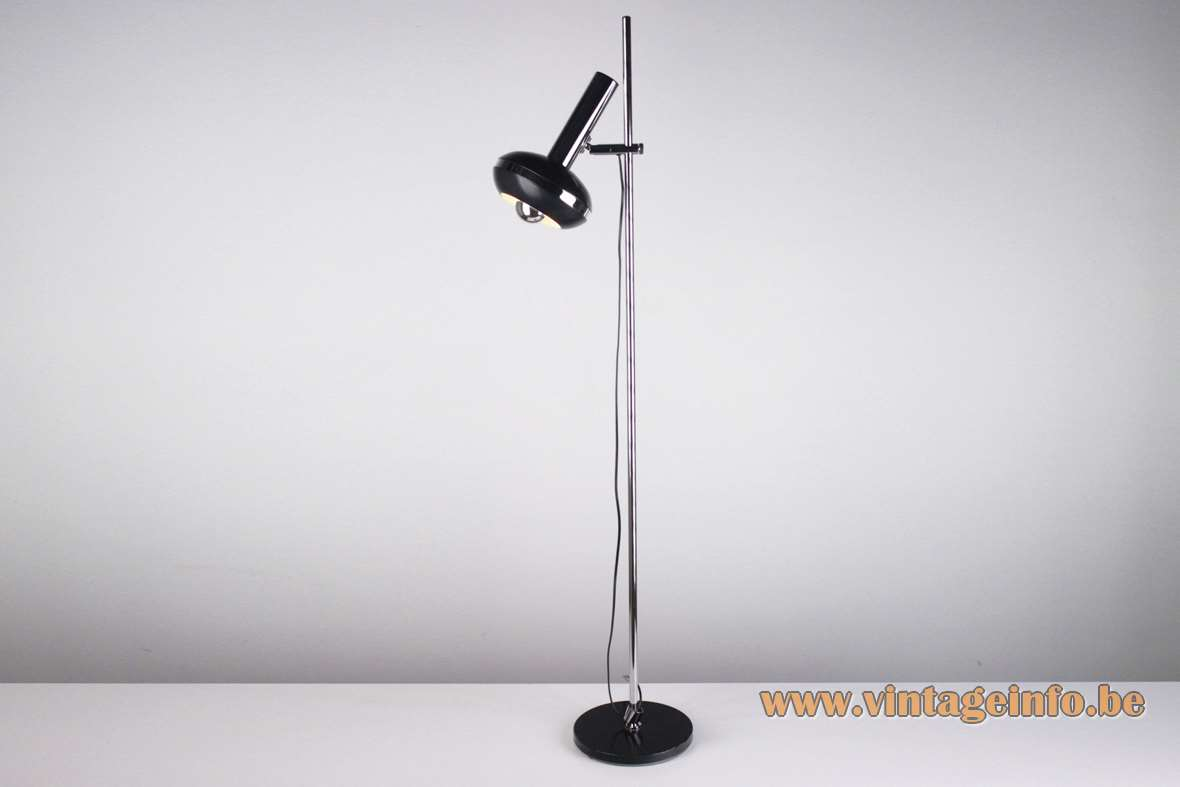 Fase Black With Chrome Floor Lamp round black base & lampshade with a chrome ring 1970s Madrid Spain MCM