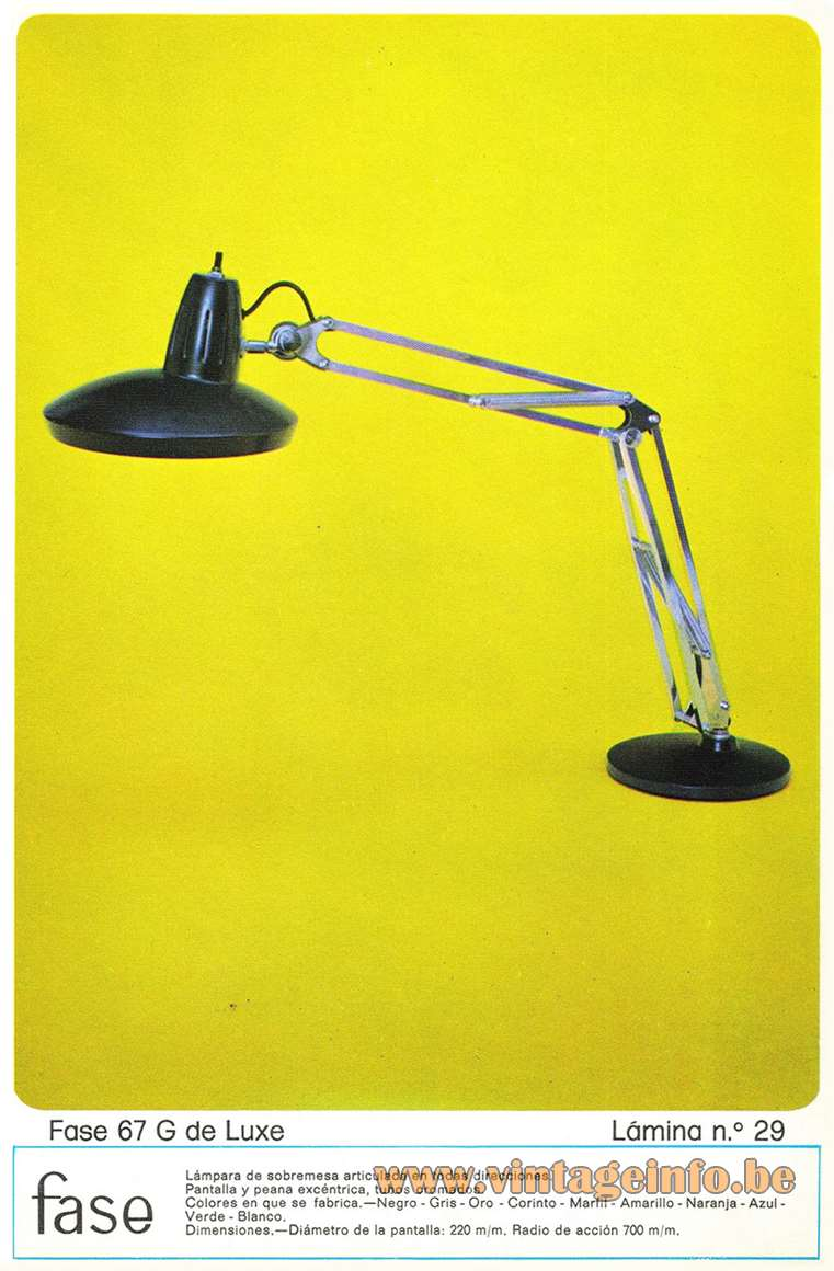 Fase Faro 67-G architect desk lamp round metal base adjustable round lampshade 1970s MCM Madrid