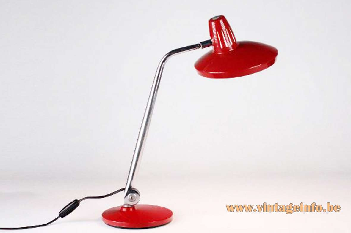 Fase Faro desk lamp round red metal base adjustable chrome rod round red lampshade 1970s Spain