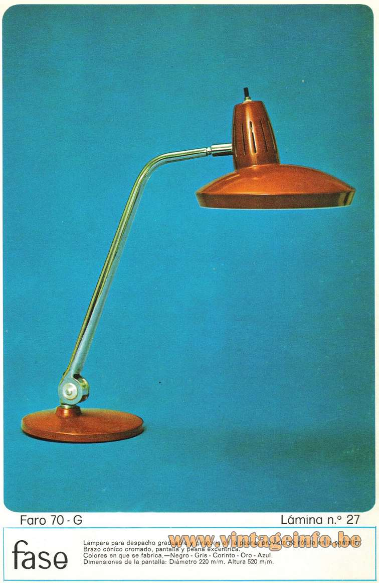 Fase Faro 70-G Desk Lamp round metal base adjustable chrome rod round lampshade 1970s MCM Madrid