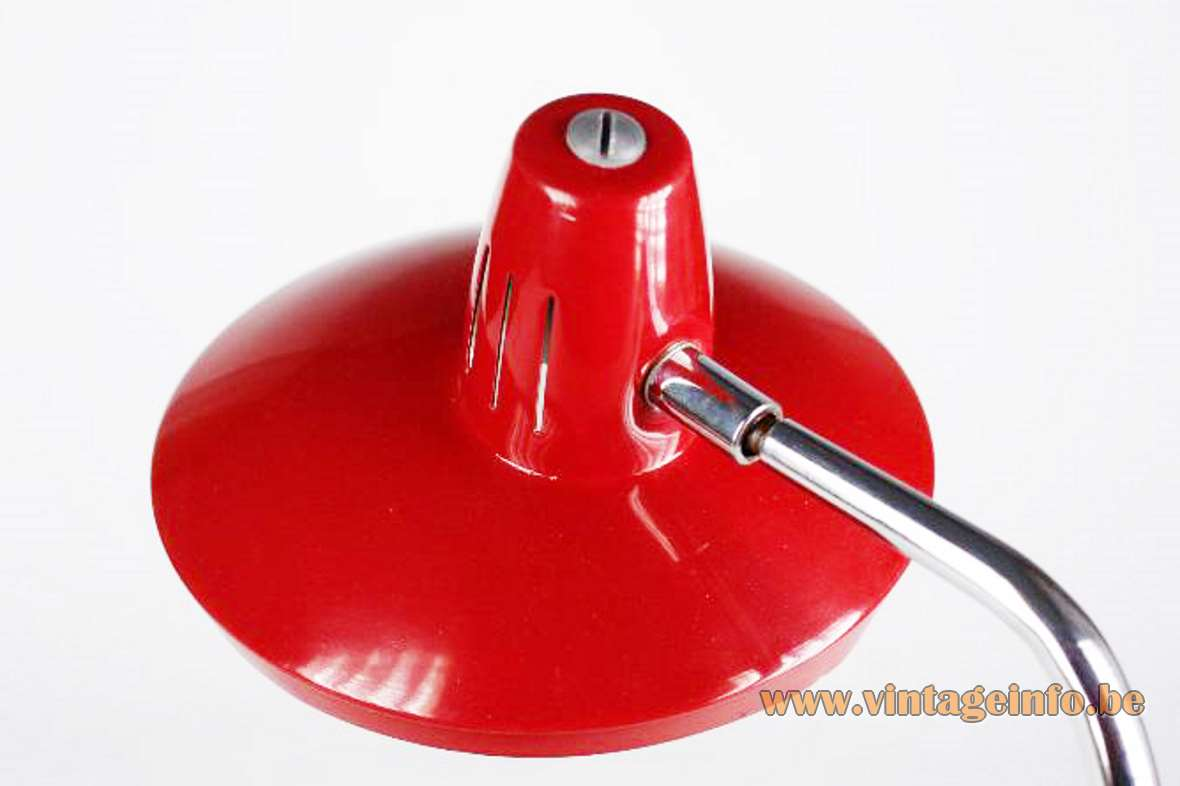 Fase desk lamp Faro 70-G round metal base adjustable chrome rod round lampshade 1970s MCM Mid-Century Modern Spain