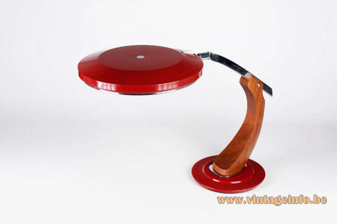 Fase President S/C Desk Lamp red round base wood arm UFO lampshade glass diffuser Spain 1970s MCM