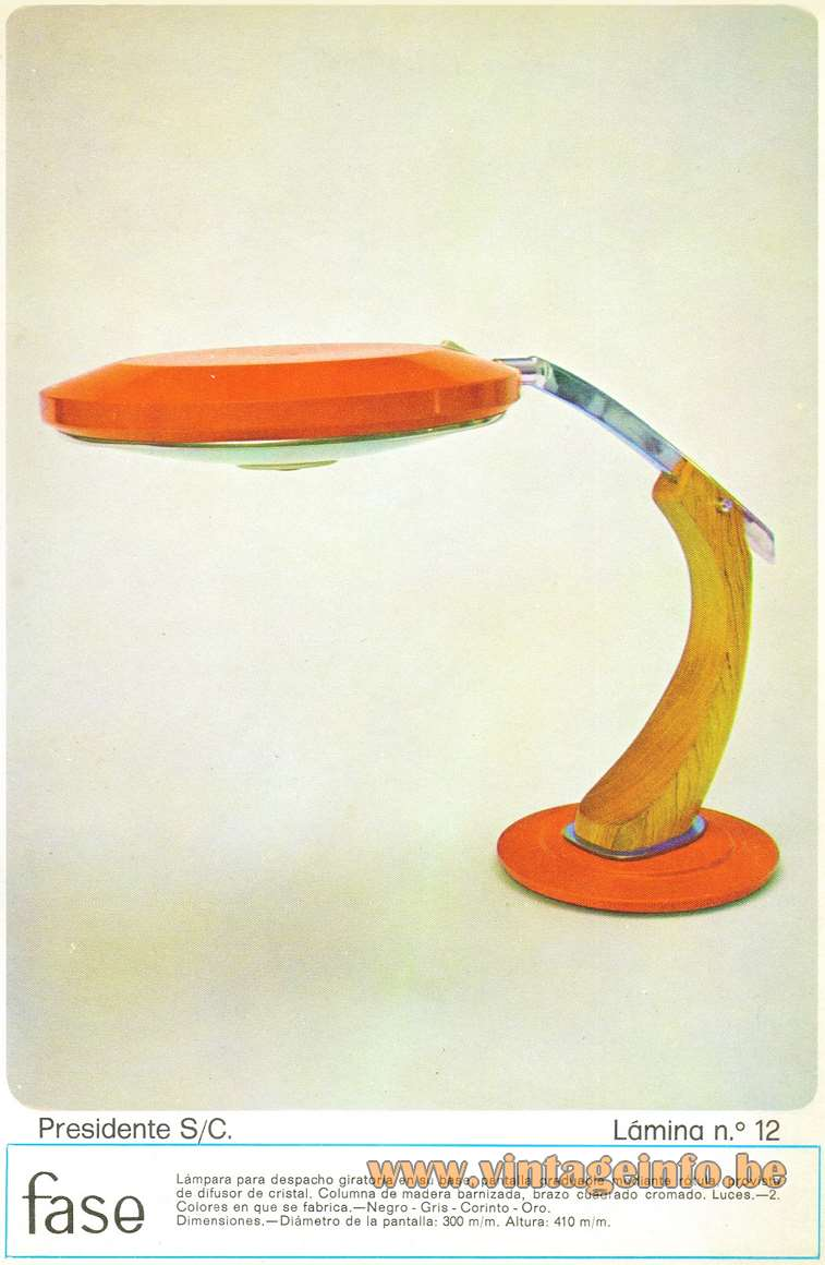 Fase President S/C Desk Lamp orange round base wood arm UFO lampshade glass diffuser Spain 1970s catalogue picture