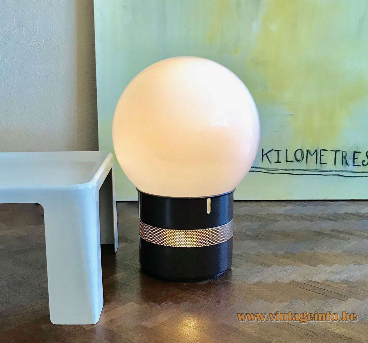 Gae Aulenti Mezzoracolo Table Floor Lamp Artemide brown coated metal opal glass globe 1973 1970s MCM