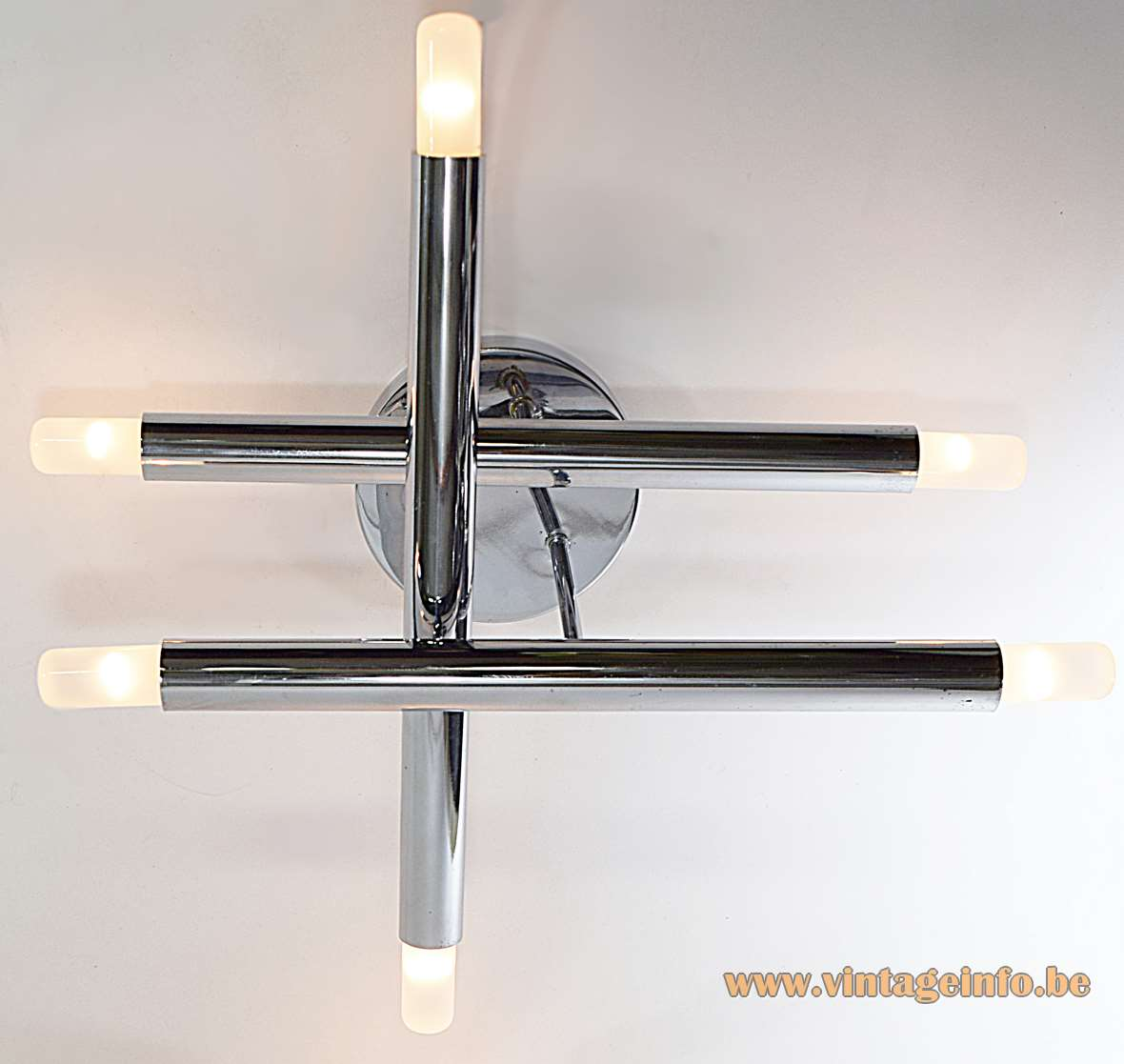 Gaetano Sciolari 3 Chrome Tubes Flush Mount safety match view six light bulbs 1960s 1970s MCM