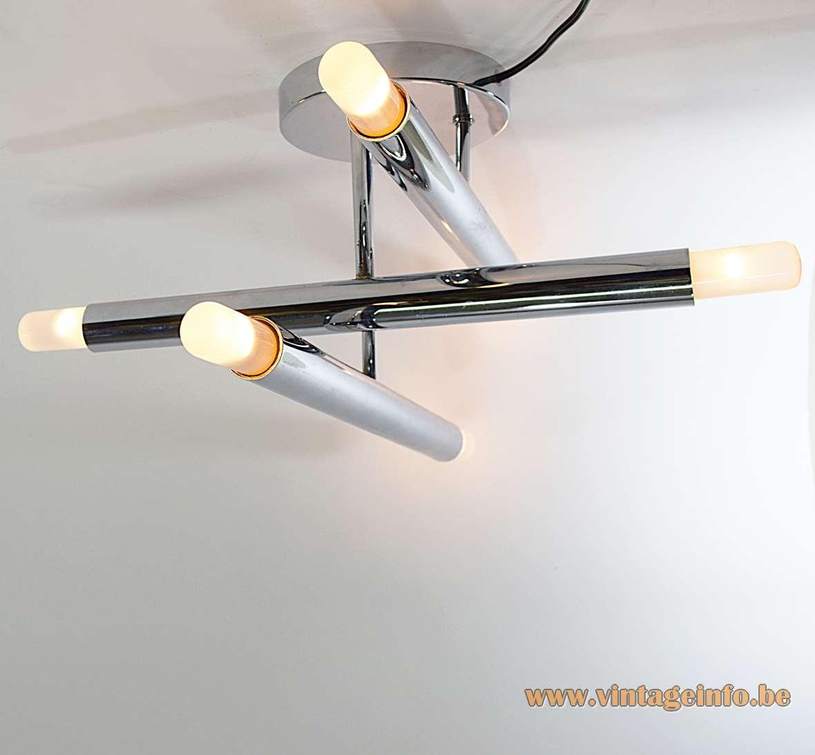 Gaetano Sciolari 3 chrome tubes flush mount 1960s design round base 6 E14 lamp sockets 1970s