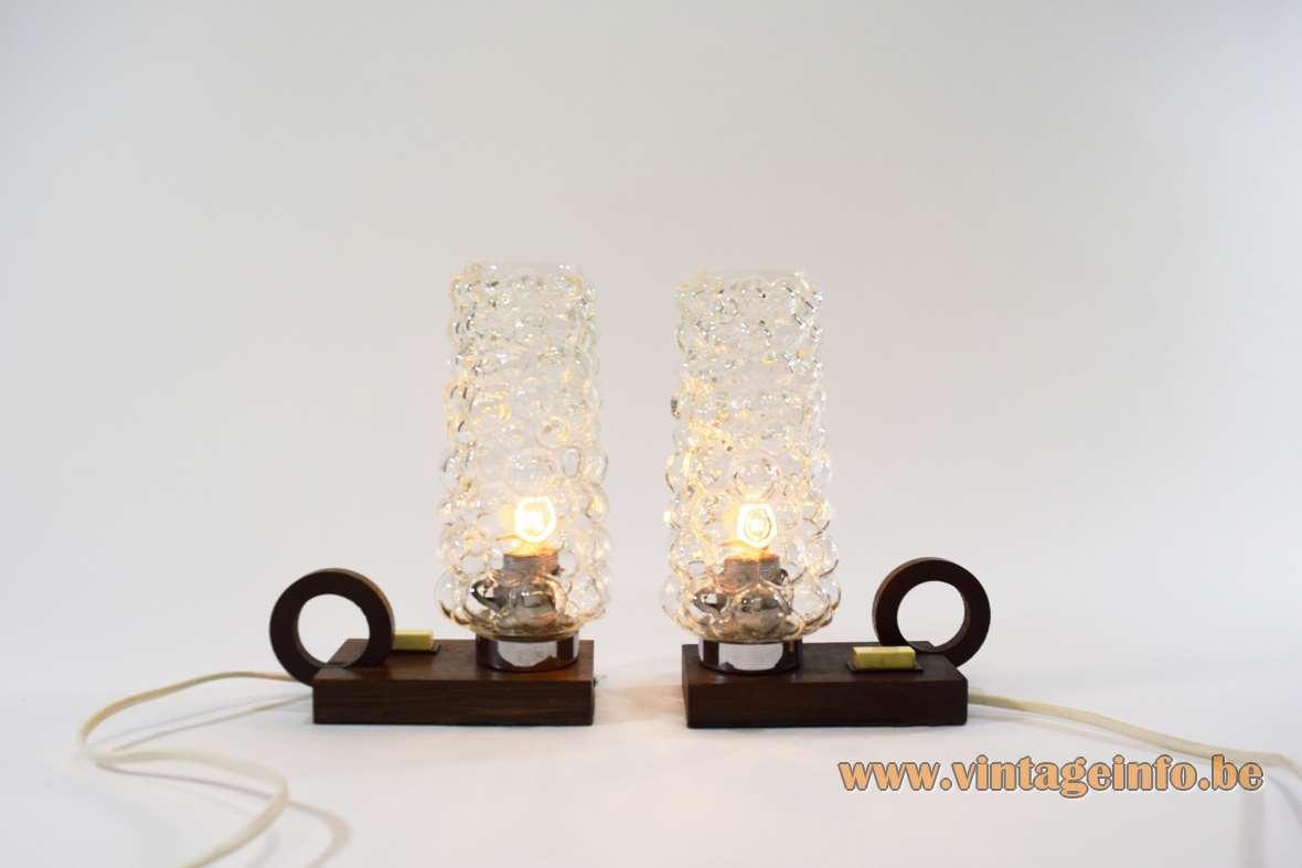 Helena Tynell teak bedside table lamps rectangular wood base candlestick style bubbleglass Glashütte Limburg 1960s 1970s