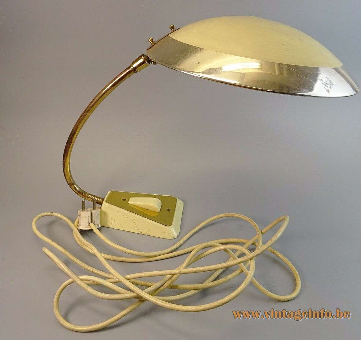 Helo Leuchten brass desk lamp cream cast iron trapezoid base curved rod mushroom lampshade 1950s 1960s