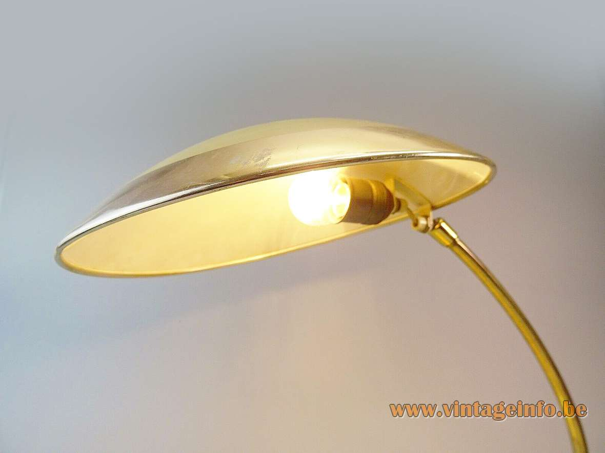 Helo Leuchten Brass Desk Lamp cast iron base curved rod round lampshade cream vanilla paint 1950s
