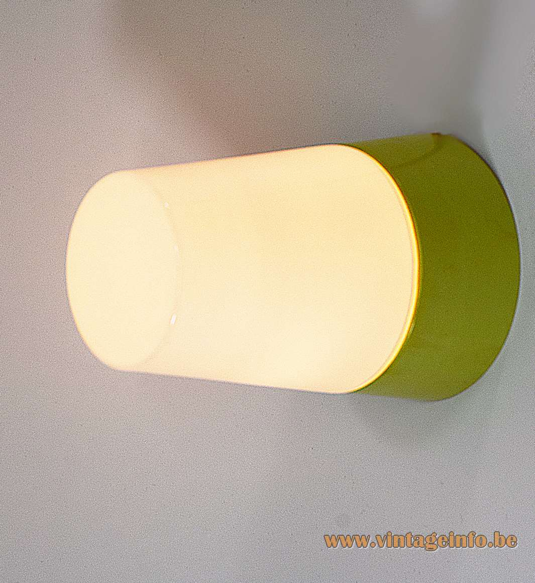 HoSo olive green Bakelite flush mount white opal conical glass lampshade 1950s 1960s Hoffmeister & Sohn Germany