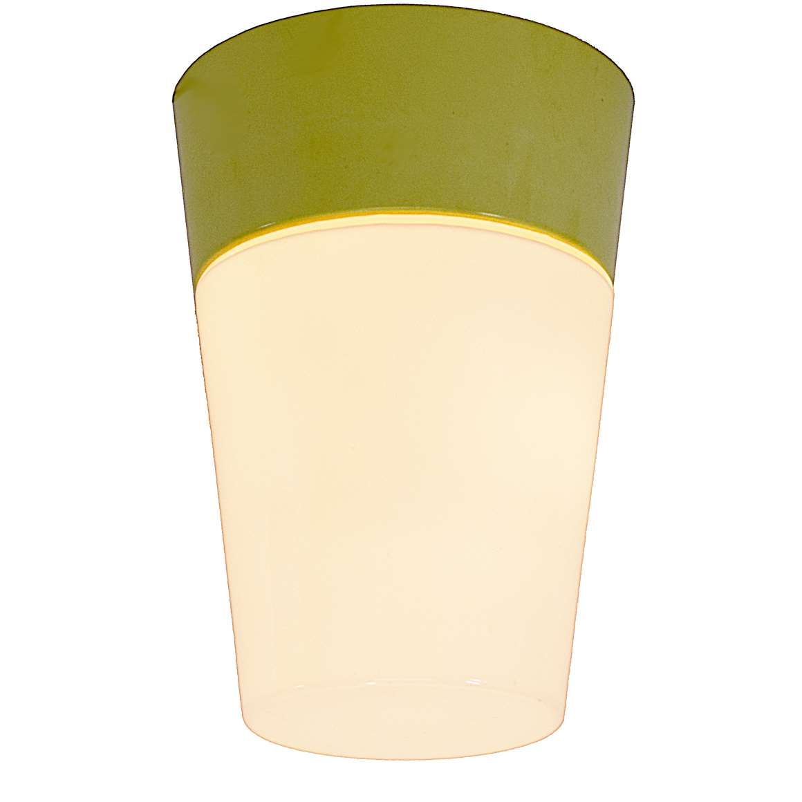 HoSo Olive Green Bakelite Flush Mount conical white opal glass 1950s 1960s Hoffmeister ceiling lamp MCM