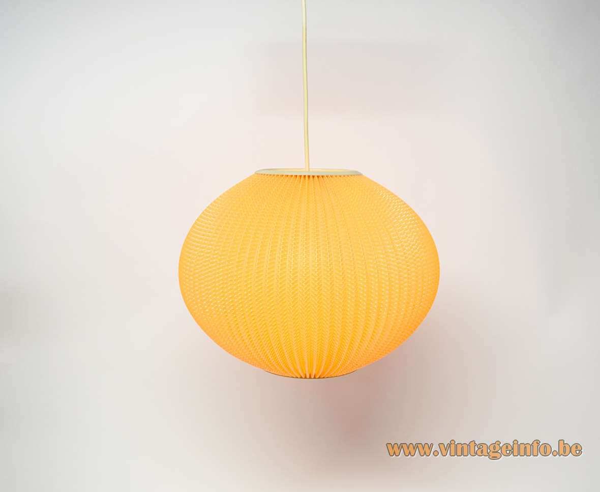 Pearlshade Pendant Lamp Lars Eiler Schiøler copy orange plastic white rims 1960s 1970s MCM Rispal