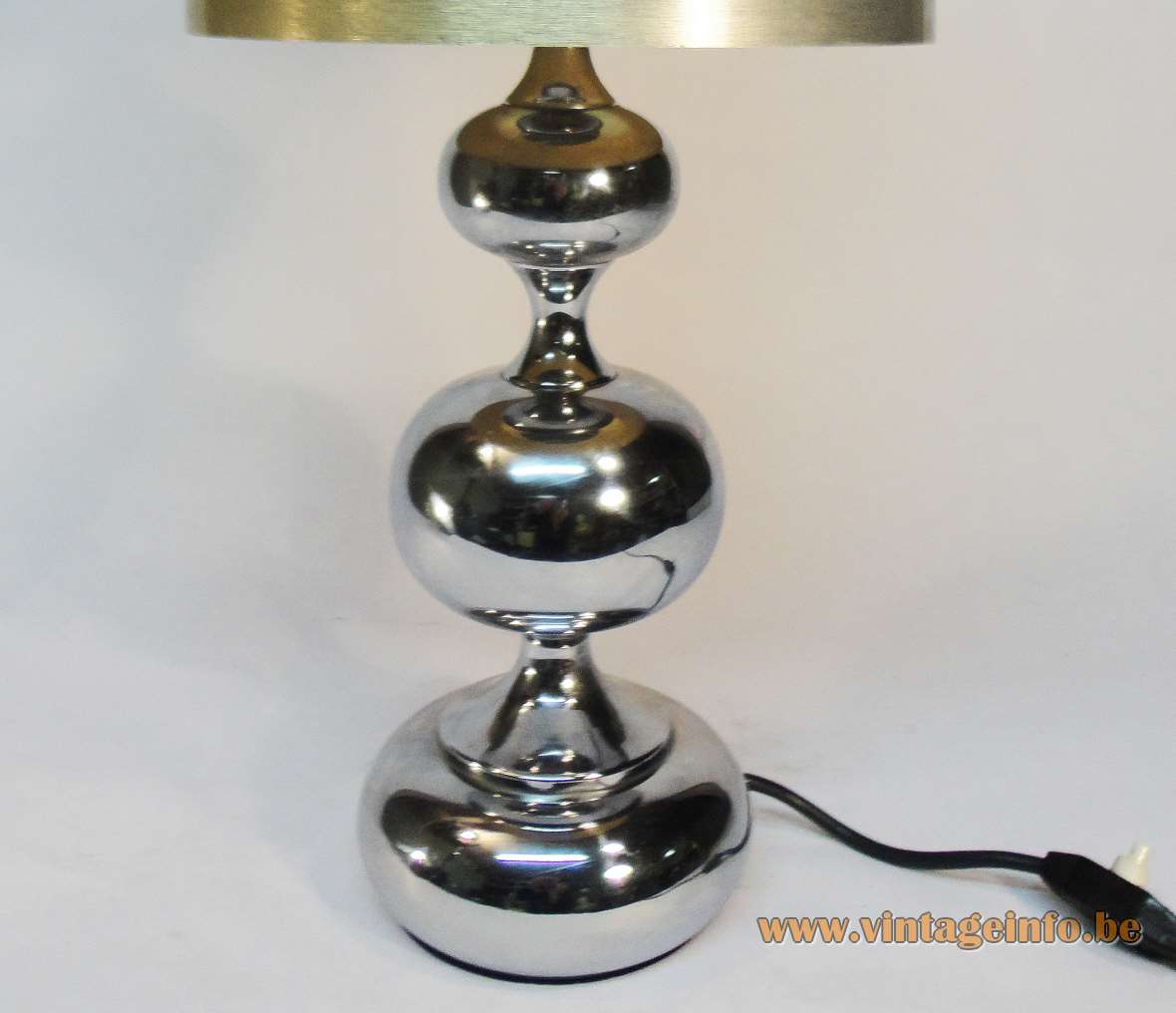 Hustadt-Leuchten chrome globes table lamp Maison Barbier style 3 oval globes fabric lampshade 1970s Germany