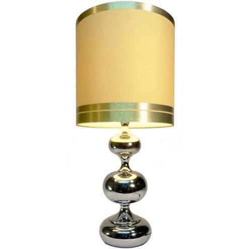 Hustadt-Leuchten 3 Chrome Globes Table Lamp Maison Barbier style light fabric lampshade E27 socket 1970s