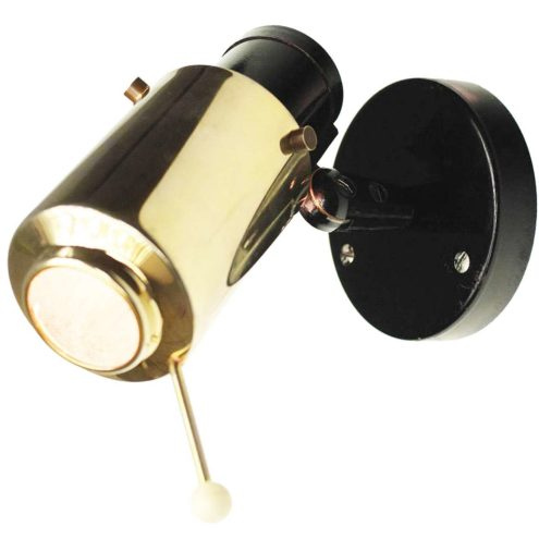 Jacques Biny Lita Zodiaque Projector Lamp 1950s 1960s lens wall lamp brass round black base MCM
