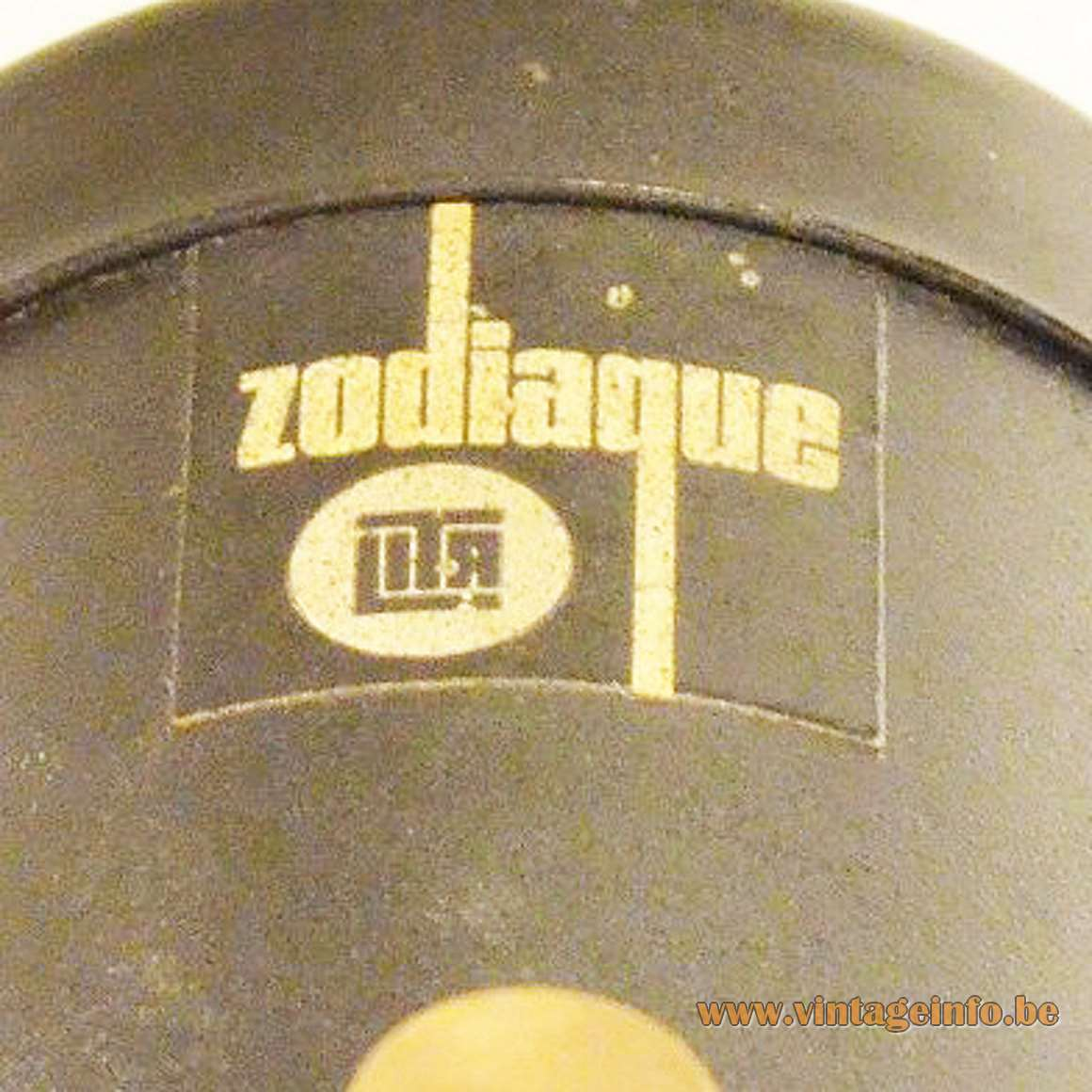 Jacques Biny Lita Zodiaque Projector Lamp 1950s 1960s lens wall lamp brass round black base MCM label