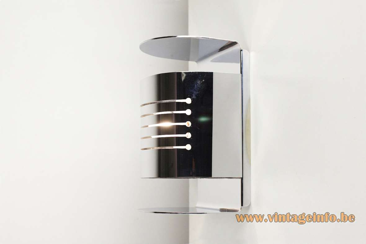 Josep Magem 1970s chrome wall lamp half round metal lampshade elongated slots Madom Marset Barcelona Spain