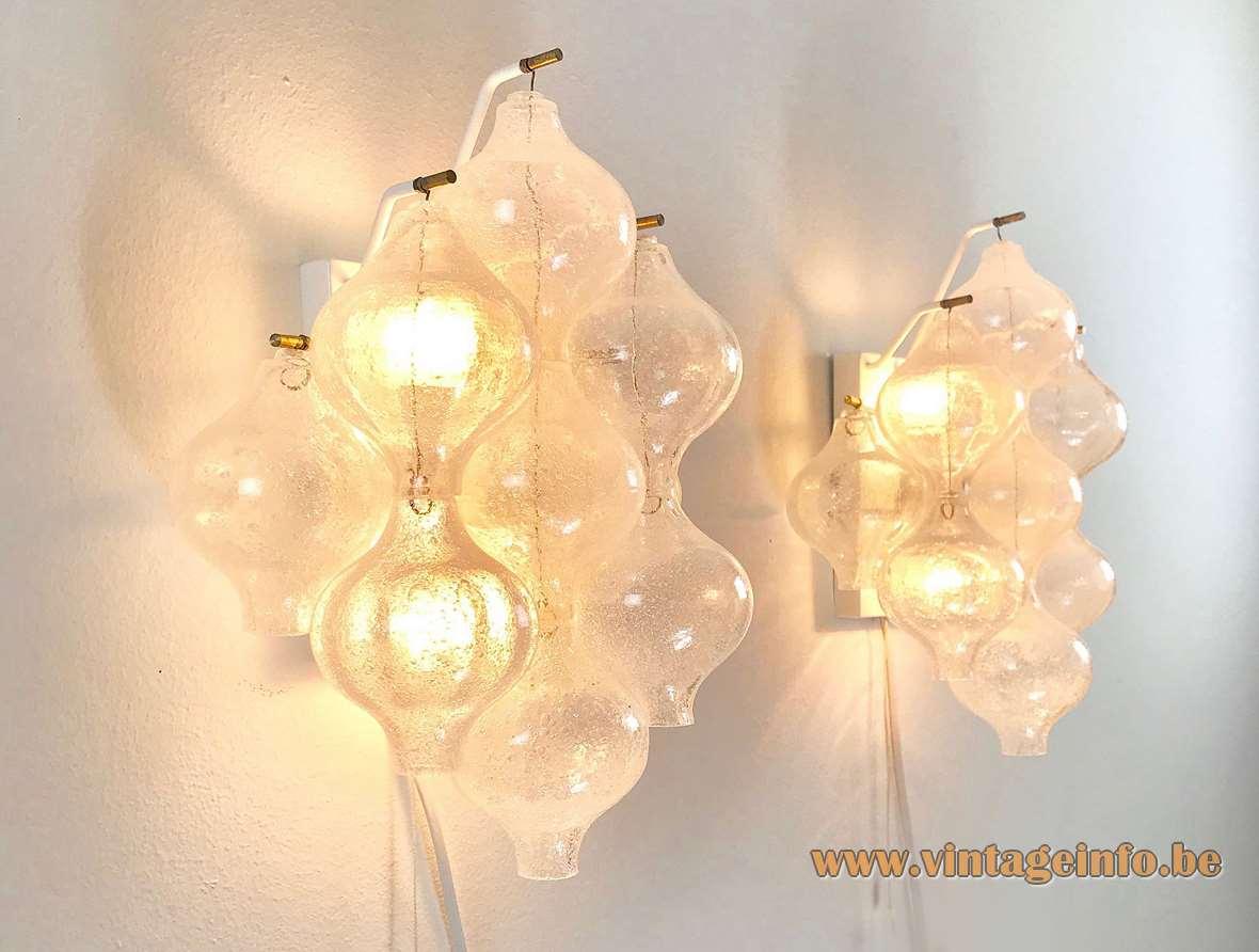 Kalmar Tulipan 9 WA wall lamp 9 onion tulip bubble glass bulbs E14 sockets 1960s 1970s