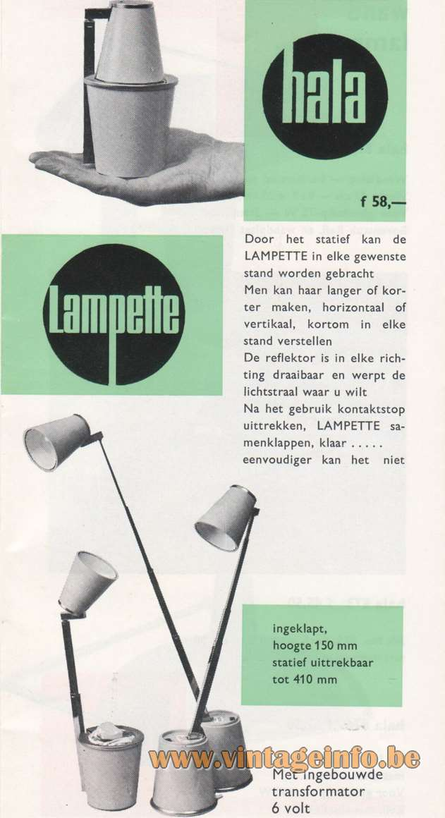 Lampette Telescopic Table Lamp - Hala Catalogue 1967 design: Koch Creations
