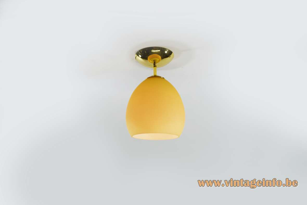 Leucos Golf PL Flush Mount satin amber glass polished brass designer: Toso & Massari 1990s Italy
