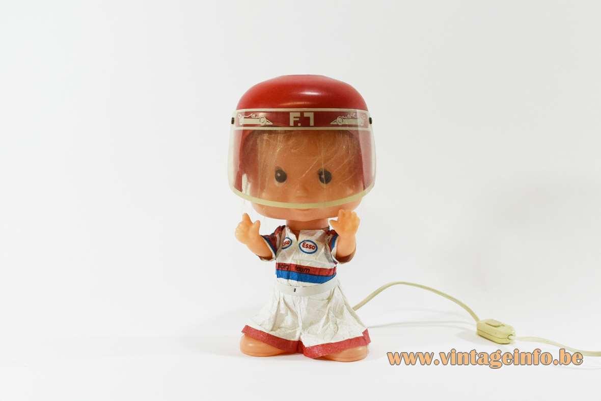 Linea Zero bobblehead Formula 1 doll table lamp plastic PVC 1970s 1980s Italy