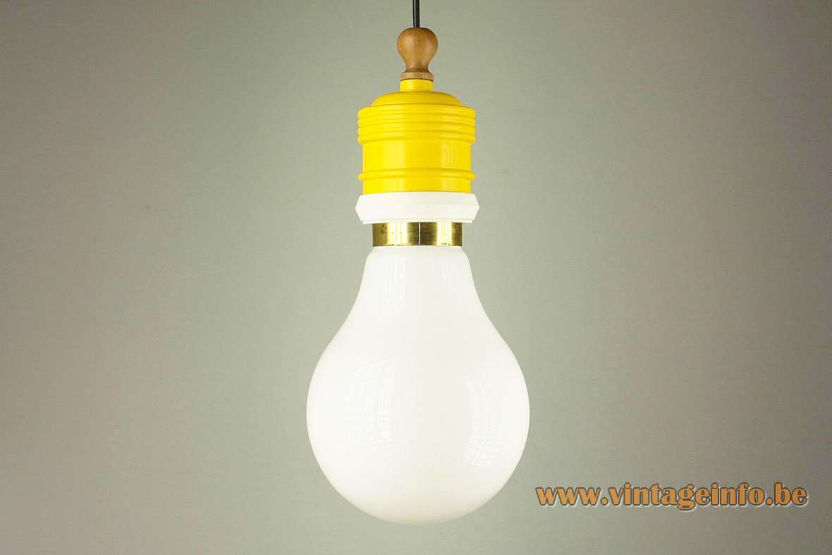 Metalarte bulb pendant lamp white opal globe lampshade yellow metal wood top 1970s 1980s Spain